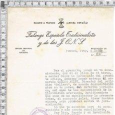 Documentos antiguos: CARTA FALANGE TRADICIONALISTA Y DE LAS J.O.N.S. -SECRETARIO PROVINCIAL PRENSA PROPAGANDA Y RADIO .. Lote 56901868