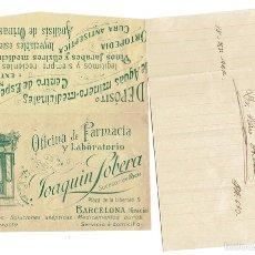 Documentos antiguos: PS6707 RECETA DE LA FARMACIA J. SOBERA. BARCELONA. 1922. Lote 56917031