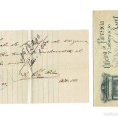 Documentos antiguos: PS6708 RECETA DE LA FARMACIA J. SOBERA. BARCELONA. 1917. Lote 56917084