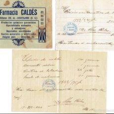 Documentos antiguos: PS6709 RECETA DE LA FARMACIA CALDÉS. BARCELONA. 1922. Lote 56917126