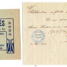 Documentos antiguos: PS6710 RECETA DE LA FARMACIA CALDÉS. BARCELONA. 1922. Lote 56917167