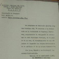 Documentos antiguos: SINDICATO VERTICAL DEL PAPEL PRENSA -CIRCULAR ORDENACIÓN DE LA PRODUCCIÓN-ENMIENDAS 1943. Lote 56928301