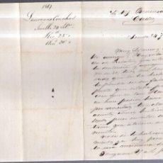Documentos antiguos: CARTA COMERCIAL. SEVILLA. 1867. LAUREANO CONCHA. BENSUSAN, CADIZ.. Lote 57174638