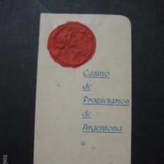 Documentos antiguos: ARGENTONA - JULIO 1918 - CASINO DE PROPIETARIOS - CARNET BAILE - MODERNISTA- VER FOTOS- (V- 5864). Lote 57189155