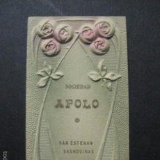 Documentos antiguos: SANT ESTEVE SESROVIRES -SAN ESTEBAN SASROVIRAS-SOCIEDAD APOLO -CARNET BAILE - VER FOTOS- (V- 5867). Lote 57189489