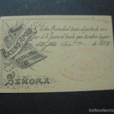 Documentos antiguos: BADALONA - CASINO APOLO - INVITACION BAILE - VER FOTOS- (V- 5888). Lote 57191165