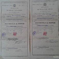 Documentos antiguos: LOTE 2 DOCUMENTOS DE 15/5/1936 -- INSCRIPCIÓN MATRÍCULA DE HONOR -- LLEVAN SELLO FISCAL DE 25 CTS --. Lote 57286659