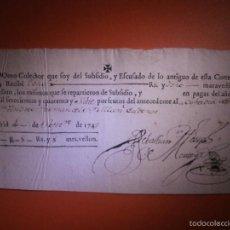 Documentos antiguos: AÑO 1747 - RECIBO COFRADIA - 8 REALES Y 8 MARAVEDIES - 4 DE SEPTIEMBRE -. Lote 57315352