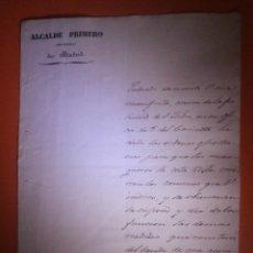 Documentos antiguos: AYUNTAMIENTO DE MADRID - 12 DE MAYO DE 1840 - FIRMADO POR EL ALCALDE D. JOAQUIN MARÍA DE _____. Lote 57315372