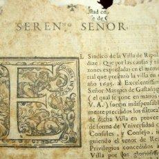 Documentos antiguos: DO-069. SOLICITUD SINDICO DE RIPOLL PARA QUE ELREY LA RESCATE DEL DOMINIO ABACIAL.XVII.. Lote 57055442