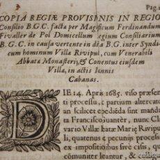 Documentos antiguos: DO-066. PROVISIÓN REAL DICTADA EN EL CONFLICTO ENTRE LA VILLA DE RIPOLL Y EL ABAD. XVII.. Lote 57057000