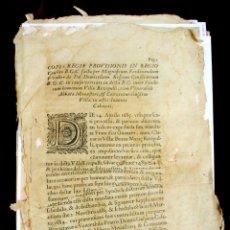 Documentos antiguos: DO-065. PROVISIÓN REAL DICTADA EN EL CONFLICTO ENTRE LA VILLA DE RIPOLL Y EL ABAD. XVII.. Lote 57057470