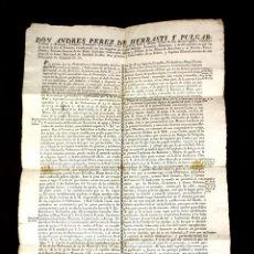 Documentos antiguos: DO-064. ORDENANZA DE DON ANDRES PÉREZ DE HERRASTI, GOBERNADOR MILITAR DE BARCELONA. 1815. Lote 57059217