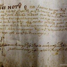 Documentos antiguos: DO-080. PERGAMINO MANUSCRITO. TRANSMISSIÓN DE BIENES(?). SANT ANDREU-MATARÓ. 1615.. Lote 56738265