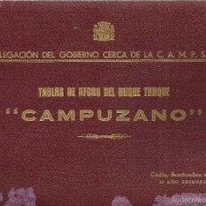Documentos antiguos: *TABLAS DE AFORO DEL BUQUE TANQUE -CAMPUZANO- 1937.. Lote 57376140