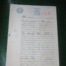 Documentos antiguos: DOCUMENTO NOTARIAL PODER NOTARIA JUAN SOLER Y VILARASAU, BARCELONA 1911. Lote 57392796