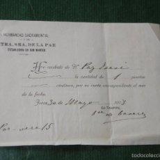 Documentos antiguos: RECIBO HERMANDAD SACRAMENTAL Y NTRA.SRA.DE LA PAZ, EST.EN SAN MARCOS, JEREZ DE LA FRONTERA 1918. Lote 57399567