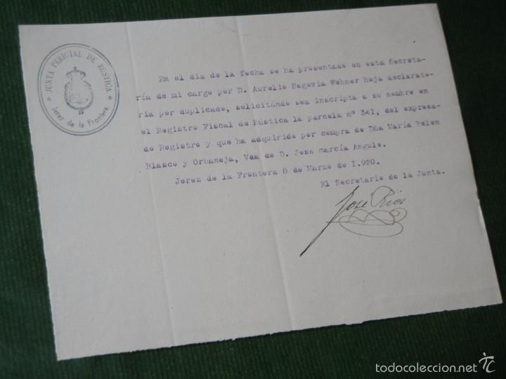 ESCRITO DE LA JUNTA PERICIAL DE RUSTICA - JEREZ DE LA FRONTERA 1920 (Coleccionismo - Documentos - Otros documentos)