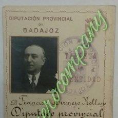 Documentos antiguos: TARJETA DE IDENTIDAD, DIPUTACIÓN PROVINCIAL DE BADAJOZ.(1927).. Lote 57417531