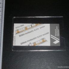 Documentos antiguos: ENTRADA INVITACIÓN INAUGURACIÓN TÚNEL DE LA LÍNEA 1 DEL METRO DE VALENCIA. 9 OCTUBRE 1988, NUEVA. Lote 57565211