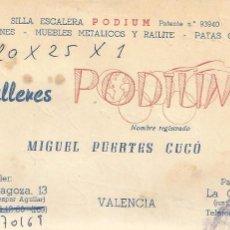 Documentos antiguos: ** TS177 - TARJETA DE VISITA - TALLERES PODIUM - VALENCIA. Lote 57610210