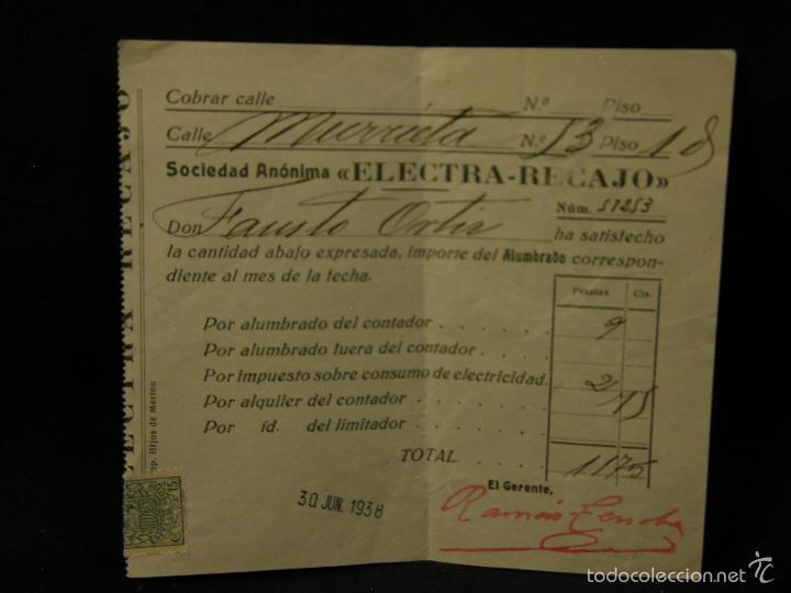 SOCIEDAD ANONIMA ELECTRA RECAJO PAGO RECIBO ALUMBRADO CONTADOR CONSUMO ELECTRICIDAD 1938 (Coleccionismo - Documentos - Otros documentos)