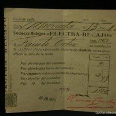 Alte Dokumente - sociedad anonima electra recajo pago recibo alumbrado contador consumo electricidad 1938 - 57611602