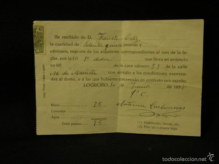 RECIBO ALQUILER INQUILINO LOGROÑO 1938 75 PESETAS CONDICIONES ARRENDAMIENTO 10X14CMS (Coleccionismo - Documentos - Otros documentos)