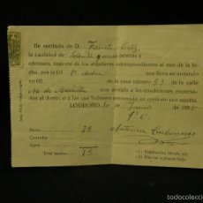 Documentos antiguos: RECIBO ALQUILER INQUILINO LOGROÑO 1938 75 PESETAS CONDICIONES ARRENDAMIENTO 10X14CMS. Lote 57611640
