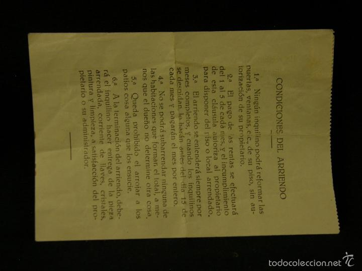 Documentos antiguos: recibo alquiler inquilino logroño 1938 75 pesetas condiciones arrendamiento 10x14cms - Foto 2 - 57611640