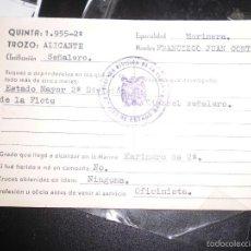 Documentos antiguos: CARNET MILITAR FLOTA MARINERO TIMONEL SEÑALERO 1955 TROZO ALICANTE CON SELLO. Lote 57631448
