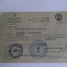 Documentos antiguos: CERTIFICADO SERVICIO SOCIAL DE LA MUJER, SECION FEMENINA DE LA FALANGE ESPAÑOLA. Lote 57664588