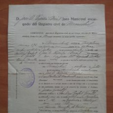 Documentos antiguos: 1927 INSCRIPCIÓN MATRIMONIAL - MADRID. Lote 57680925