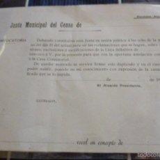 Documentos antiguos: ANTIGUO DOCUMENTO EN BLANCO DE JUNTA MUNICIPAL DEL CENSO ELECTORAL , ELECCIONES VOCAL AÑO 190 ?. Lote 57688722