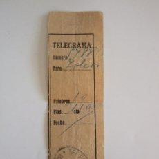 Documentos antiguos: RESGUARDO DE TELEGRAMA - MALAGA 1934 - TELEGRAFOS. Lote 57689831