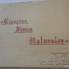 Documentos antiguos: ANTIGUO CUADERNO DE COLEGIO.CIENCIAS FISICO NATURALES.MIGUEL ANGEL SANZ.BURGOS.1938-39. Lote 57696350