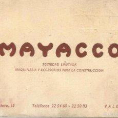 Documentos antiguos: ** TS188 - TARJETA DE VISITA - MAYACCO - MAQUINARIA PARA LA CONSTRUCCION - VALENCIA. Lote 57729163