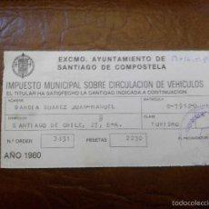 Documentos antiguos: IMPUESTO DE CIRCULACION. Lote 57730401