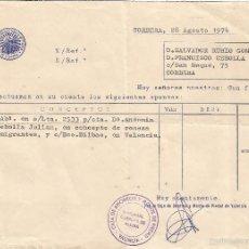 Documentos antiguos: *** K359 - APUNTE BANCARIO - CAJA DE AHORROS Y MTE. DE PIEDAD - VALENCIA - SUCURSAL CORBERA DE ALCIR. Lote 57748530