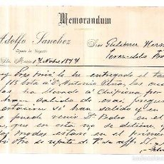 Documentos antiguos: MEMORANDUM. ADOLFO SANCHEZ. PUERTO DE SANTA MARIA. 1897.. Lote 57788831