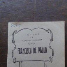 Documentos antiguos: NOVENA AL GLORIOSO PATRIARCA SAN FRANCISCO DE PAULA 1955 HIJOS DE GREGORIO DEL AMO 31 PGS. . Lote 57792350