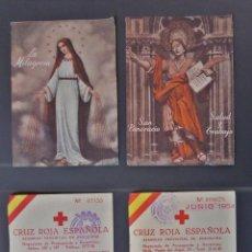 Documentos antiguos: DOS ESTAMPAS TAMAÑO POSTAL, DE CERTIFICADO DE DONATIVOS A CRUZ ROJA DEL AÑO 1954. Lote 57799454