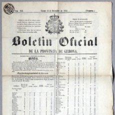 Documentos antiguos: BOLETÍN OFICIAL PROVINCIA GERONA. QUINTAS. SOLDADOS QUE CADA PUEBLO DEBE APORTAR AL EJÉRCITO. 1857. Lote 57821679