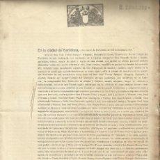 Documentos antiguos: DOCUMENTO 1908 BARCELONA. Lote 57866757