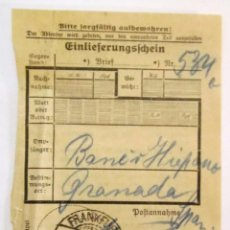 Documentos antiguos: RESGUARDO DE TELEGRAMA DE FRANKFURT A GRANADA 1934. Lote 57911559