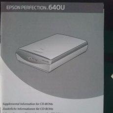Documentos antiguos: INSTRUCCIONES PARA ESCANER EPSON PERFECTION 640-U --REFM1E2. Lote 57929330