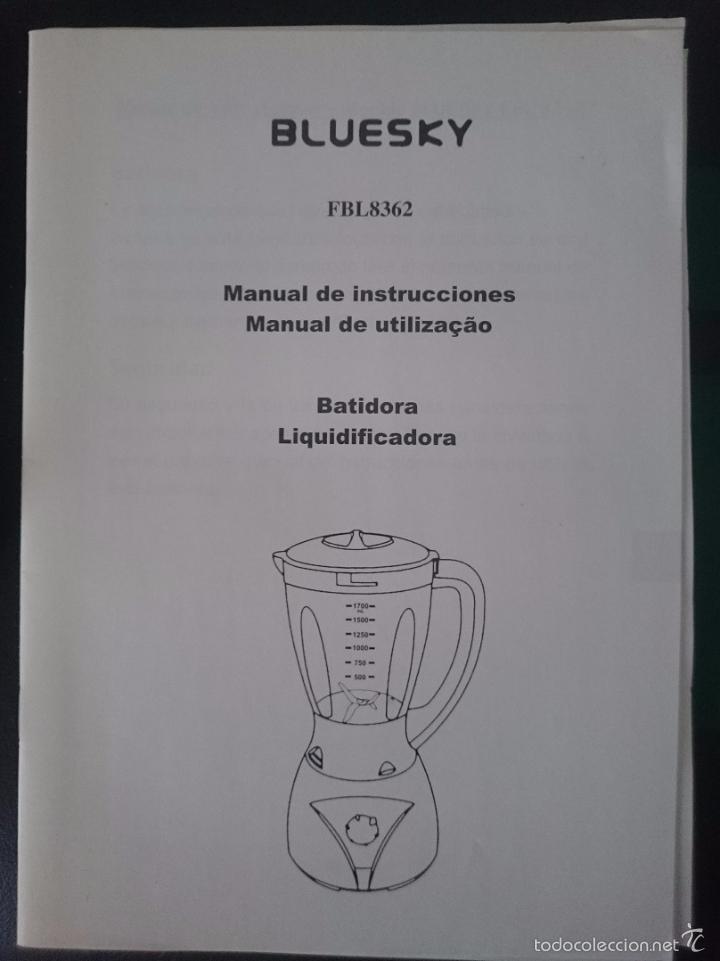 INSTRUCCIONES PARA BATIDORA BLUESKY --REFM1E2 (Coleccionismo - Documentos - Otros documentos)