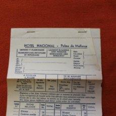 Documentos antiguos: PUBLICIDAD, HOTEL NACIONAL, PALMA DE MALLORCA,. Lote 58096827