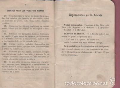 Documentos antiguos: cartilla o libreta escolar - colegio de san gabriel de valls - tarragona curso 1907 - 1908 texto - Foto 6 - 58097815
