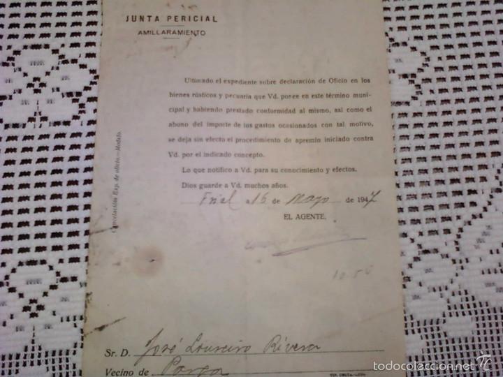 JUNTA PERICIAL. AMILLARAMIENTO . 1947 (Coleccionismo - Documentos - Otros documentos)